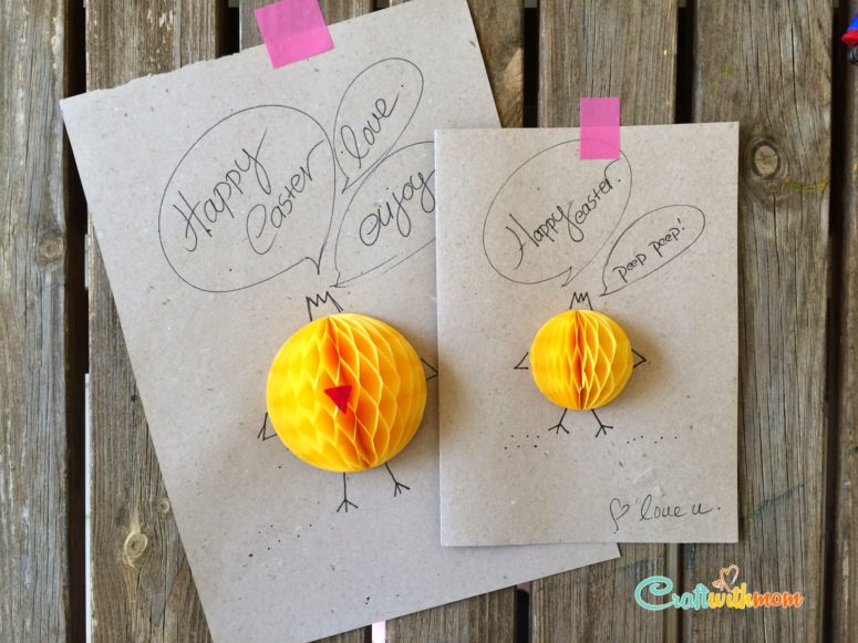 DIY cardstock cards with yellow paper fans (via craftwithmom.blogspot.ru)