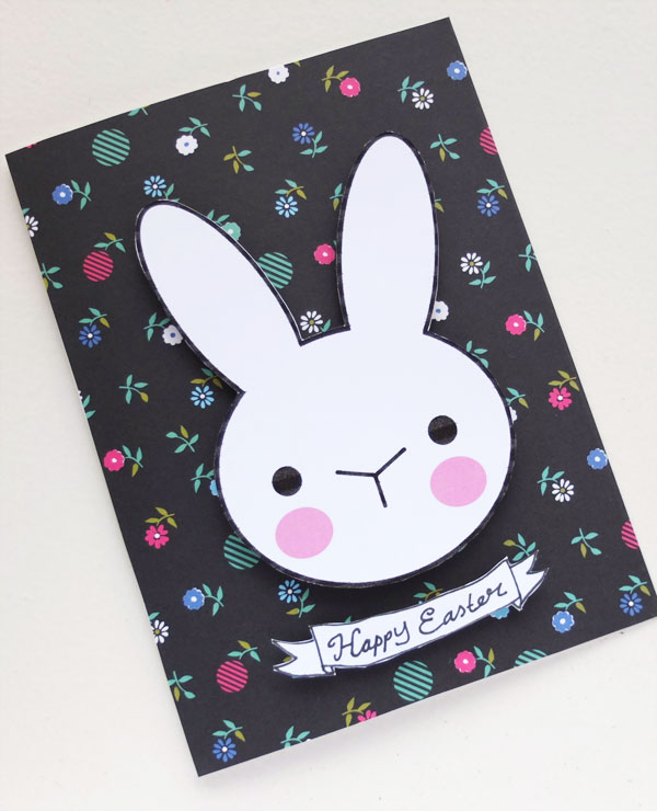 DIY floral cardstock bunny Easter card