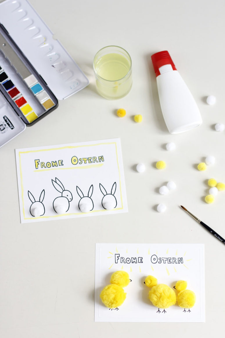 DIY Easter cards with pompom chicks and bunnies (via welovehandmade.at)