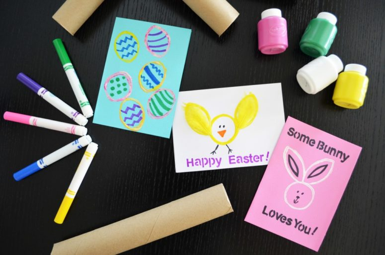 DIY colorful stamped Easter cards for kids (via www.whiskingmama.com)