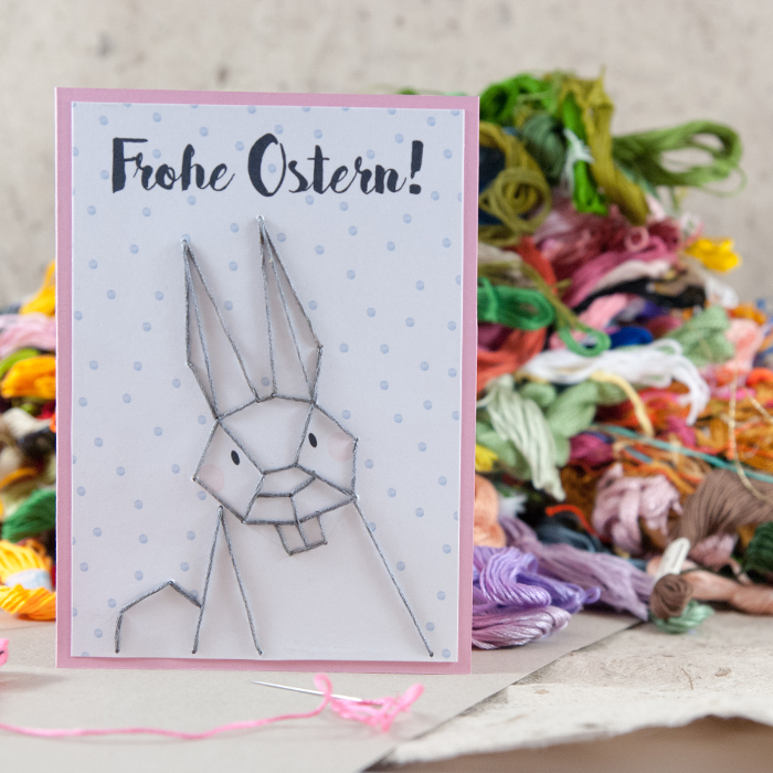 DIY polka dot Easter bunny card with threads (via www.johannarundel.de)