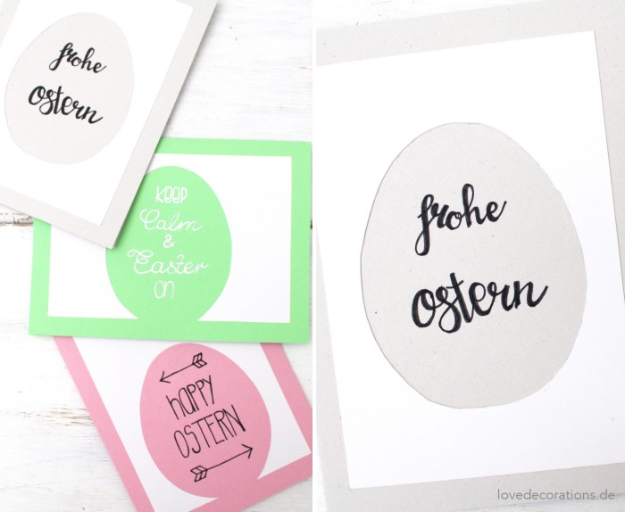 DIY colorful minimalist Easter cards in various colors (via lovedecorations.de)