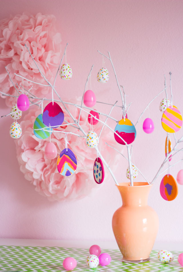 DIY colorful clay Easter egg ornaments painted by kids (via www.designimprovised.com)