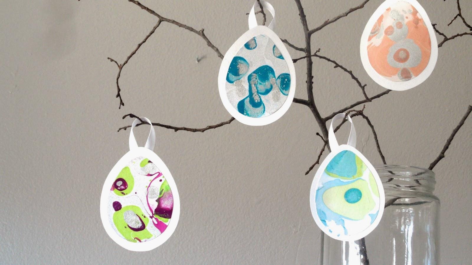 DIY cardboard and nail polish Easter egg ornaments