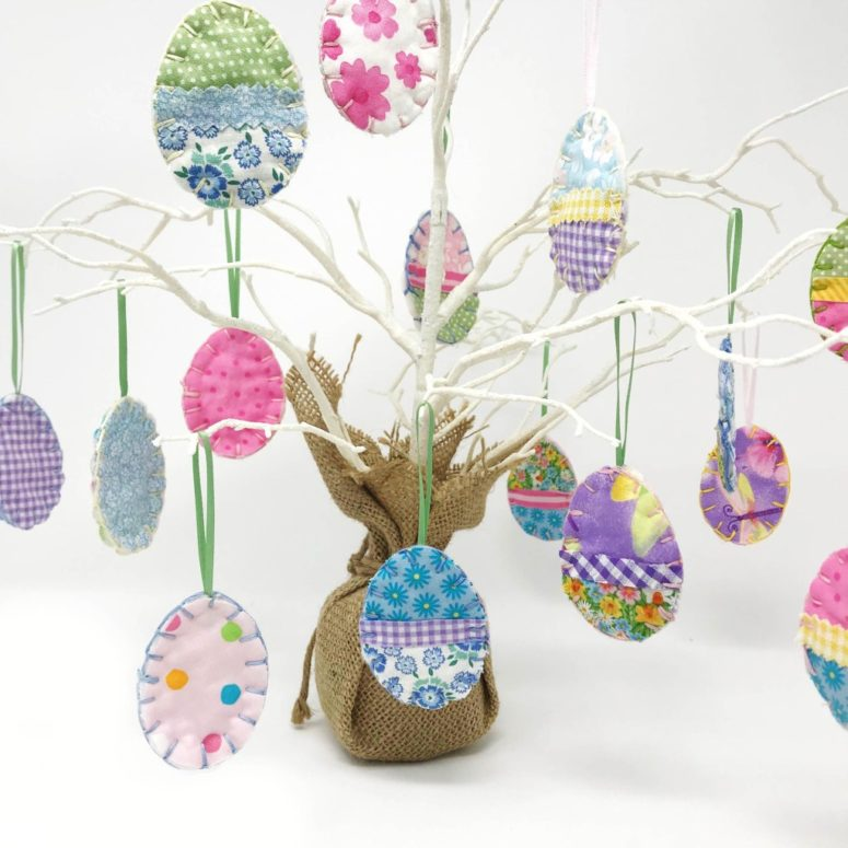 DIY Easter egg ornaments of fabric scraps (via www.bugaboocity.com)