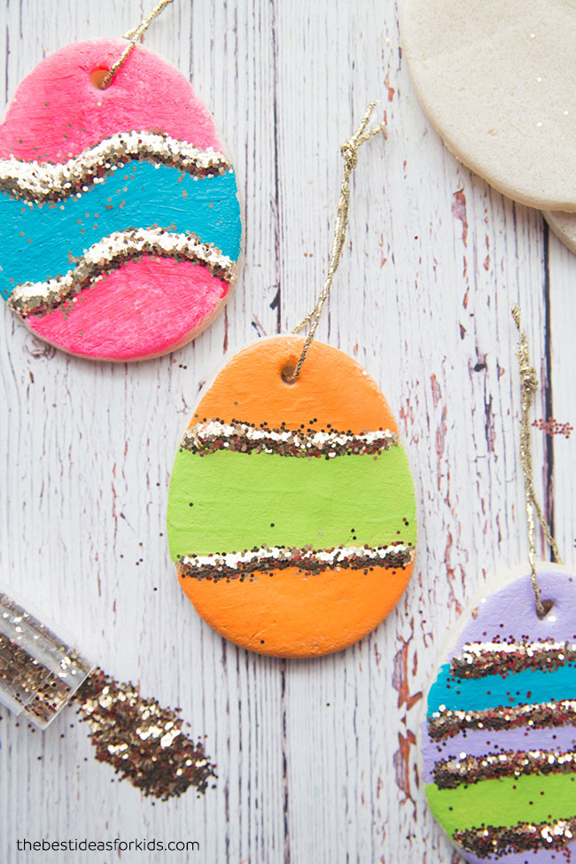 DIY color block and glitter Easter egg ornaments of salt dough (via www.thebestideasforkids.com)