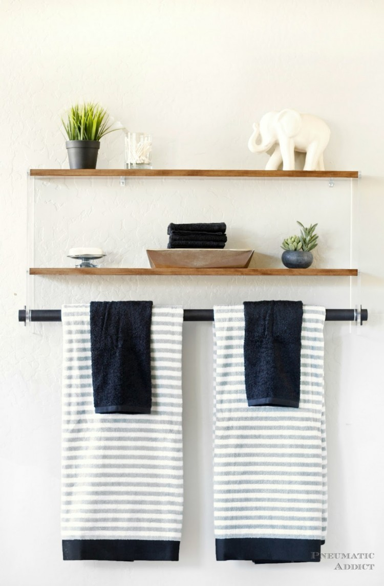 DIY wood and acrylic bathroom shelf (via www.shelterness.com)