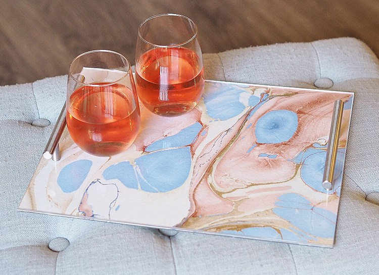 DIY acrylic tray with marble paper inlaid