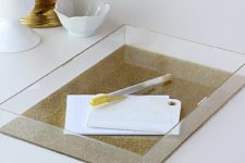 DIY acrylic tray with gold glitter
