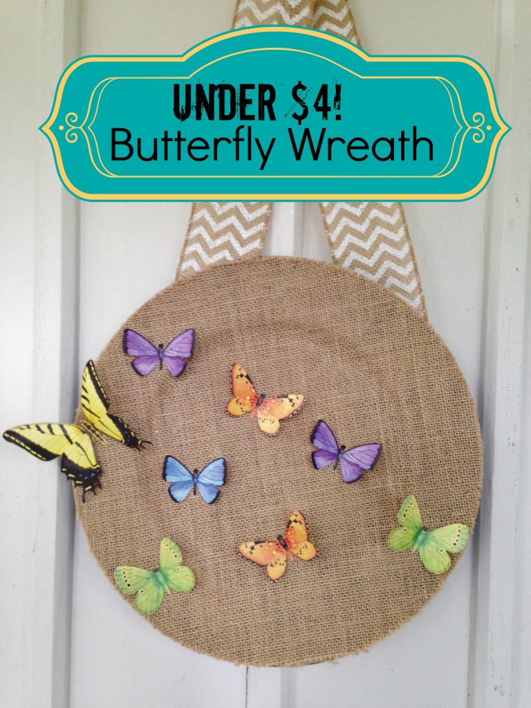 DIY burlap charger butterfly wreath (via www.survivingateacherssalary.com)
