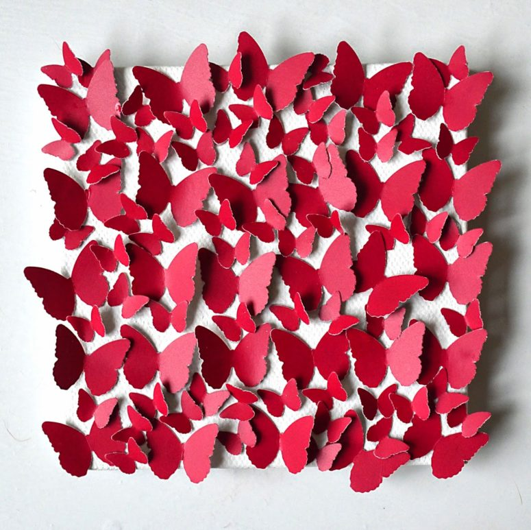 DIY red and pink butterfly canvas (via sewfrenchembroidery.blogspot.ru)