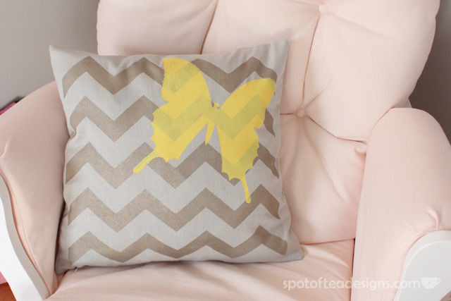 DIY stenciled chevron and butterfly pillow (via spotofteadesigns.com)