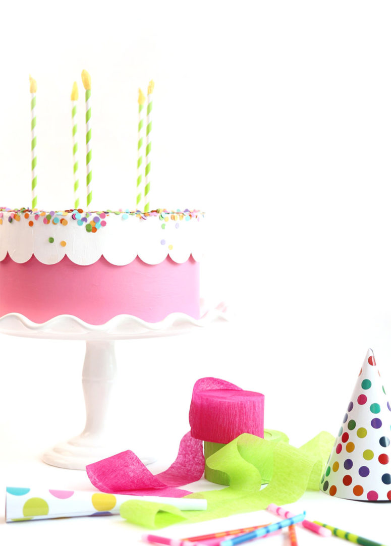 DIY birthday cake gift box with confetti (via damasklove.com)