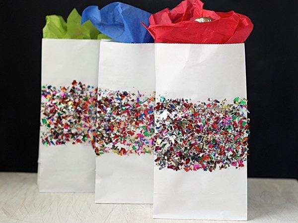 DIY shiny confetti paper favor bags
