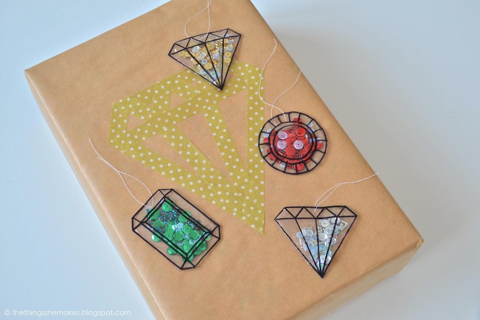 DIY gemstone confetti gift tags