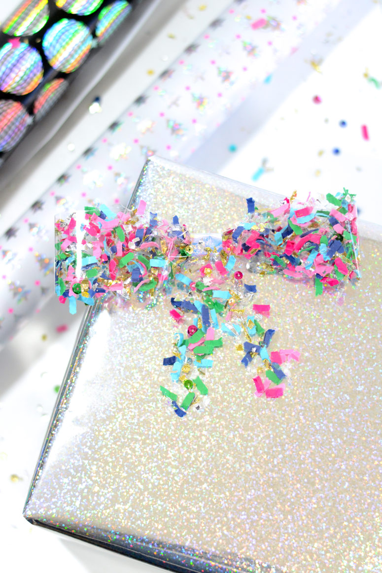 DIY confetti bows as gift tags (via www.theconfettibar.com)