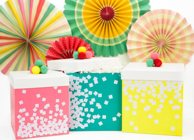 DIY bright painted gift boxes with confetti (via www.kingstoncrafts.com)