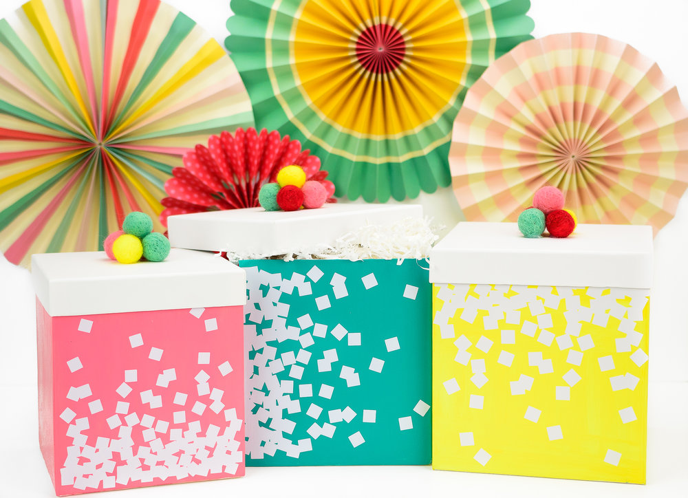 DIY bright painted gift boxes with confetti