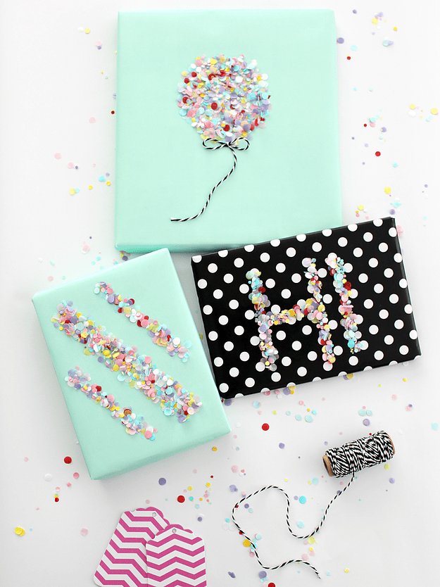 DIY colorful confetti gift wrap