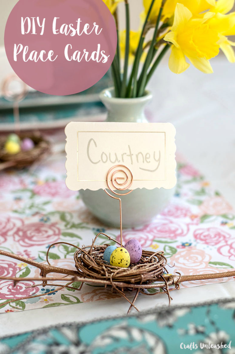 DIY nest with eggs Easter place card holders (via blog.consumercrafts.com)