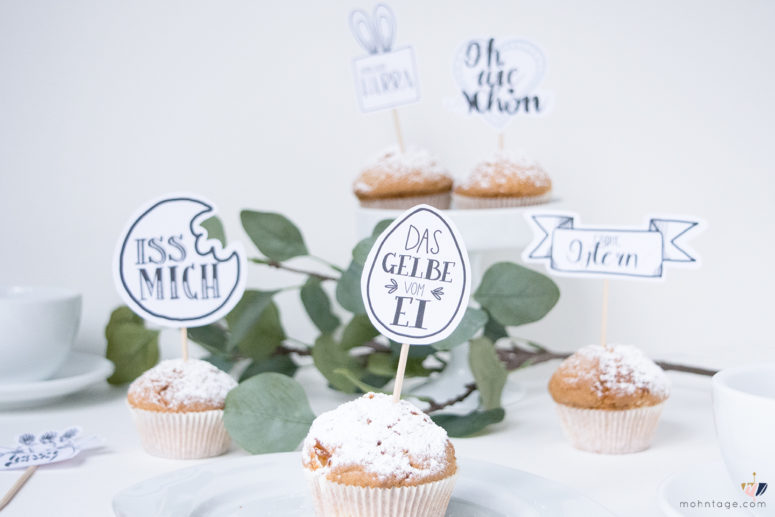 DIY fun hand lettering cupcake toppers for Easter (via www.mohntage.com)