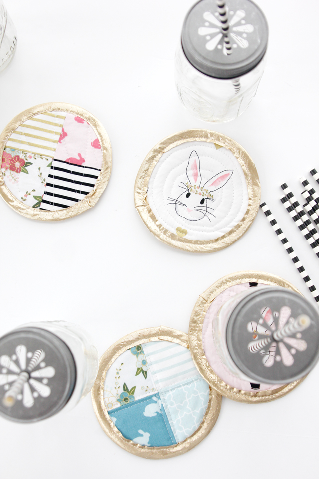 DIY quilted wonderland Easter coasters  (via seekatesew.com)
