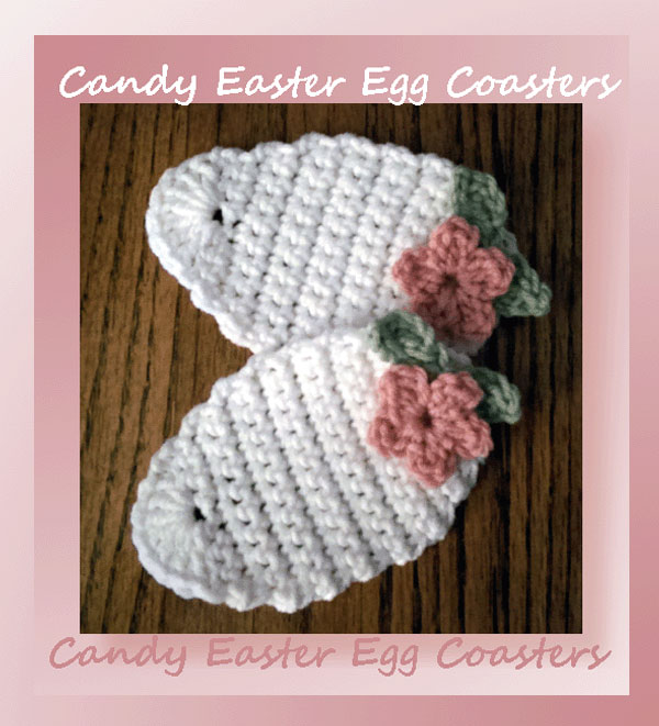 DIY crocheted candy Easter egg coasters (via www.crochetmemories.com)