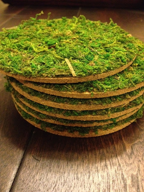 DIY moss cork coasters for a fresh touch (via babybakerlove.blogspot.ru)