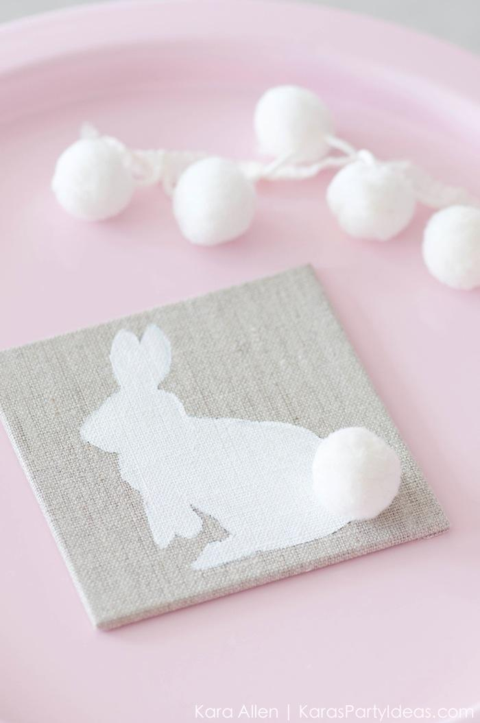 DIY burlap and pompom bunny coasters (via karaspartyideas.com)
