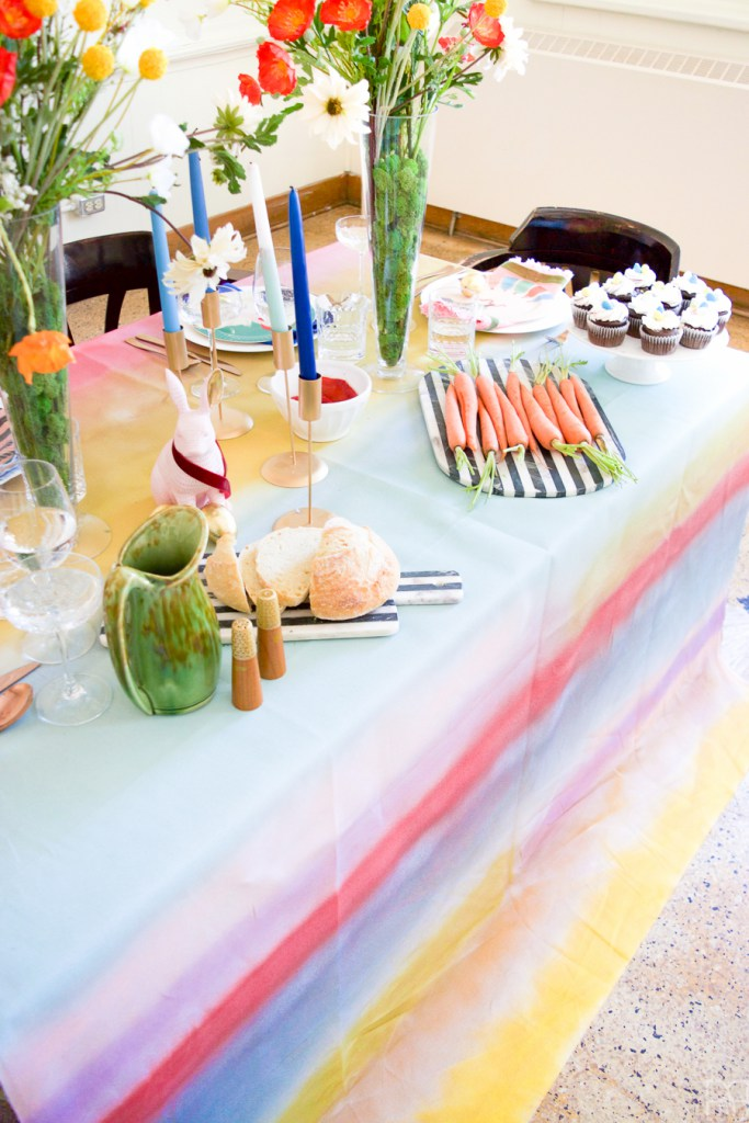DIY spray paint tablecloth in all the colors