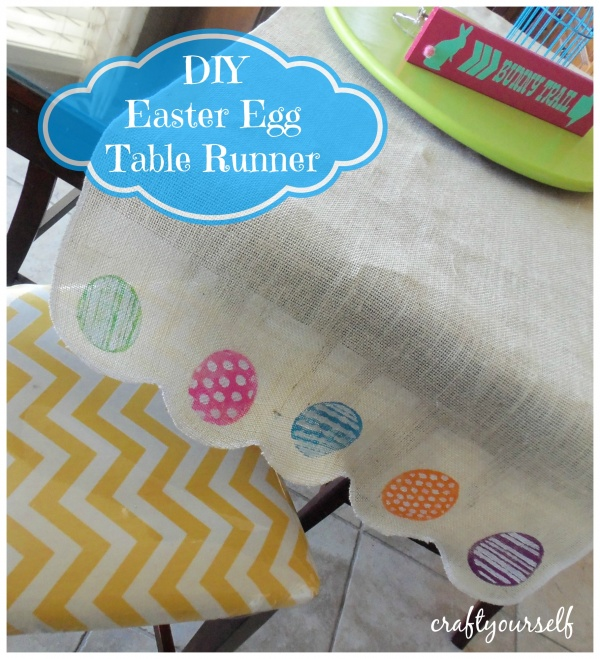 DIY colorful egg burlap table runner