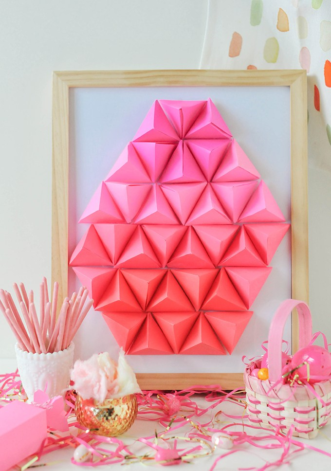 DIY ombre geometric paper Easter egg art (via theproperblog.com)