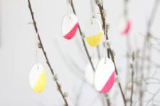 DIY color block clay Easter ornaments