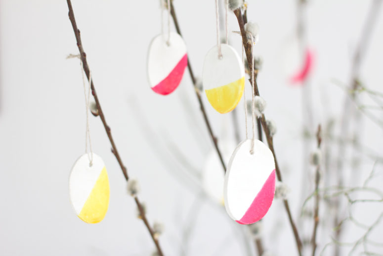 DIY color block clay Easter ornaments (via welovehandmade.at)