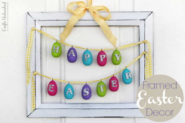 DIY Easter frame with egg buntings (via blog.consumercrafts.com)