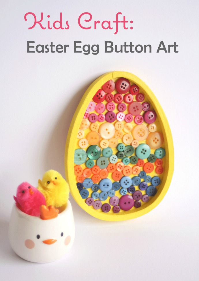 DIY Easter egg wall art with colorful buttons (via mypoppet.com.au)