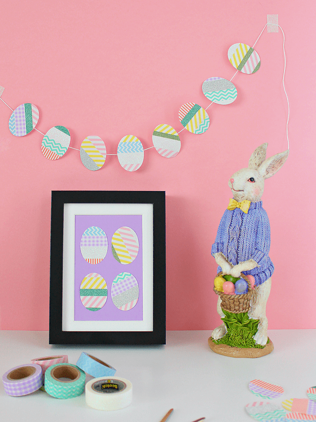 DIY washi tape Easter egg wall art (via www.whitehousecrafts.net)