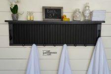 DIY painted shutter bathroom shelf with hooks