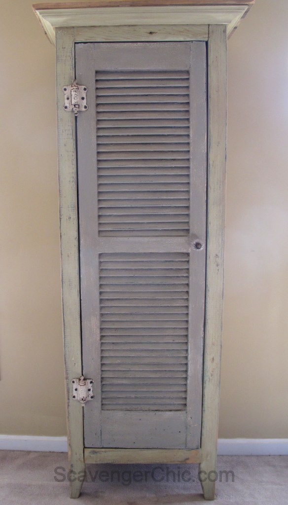 DIY refined vintage shutter cabinet for bathrooms