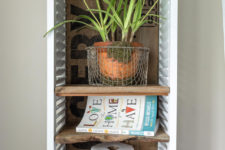 DIY reclaimed wood and shutter box cabinet