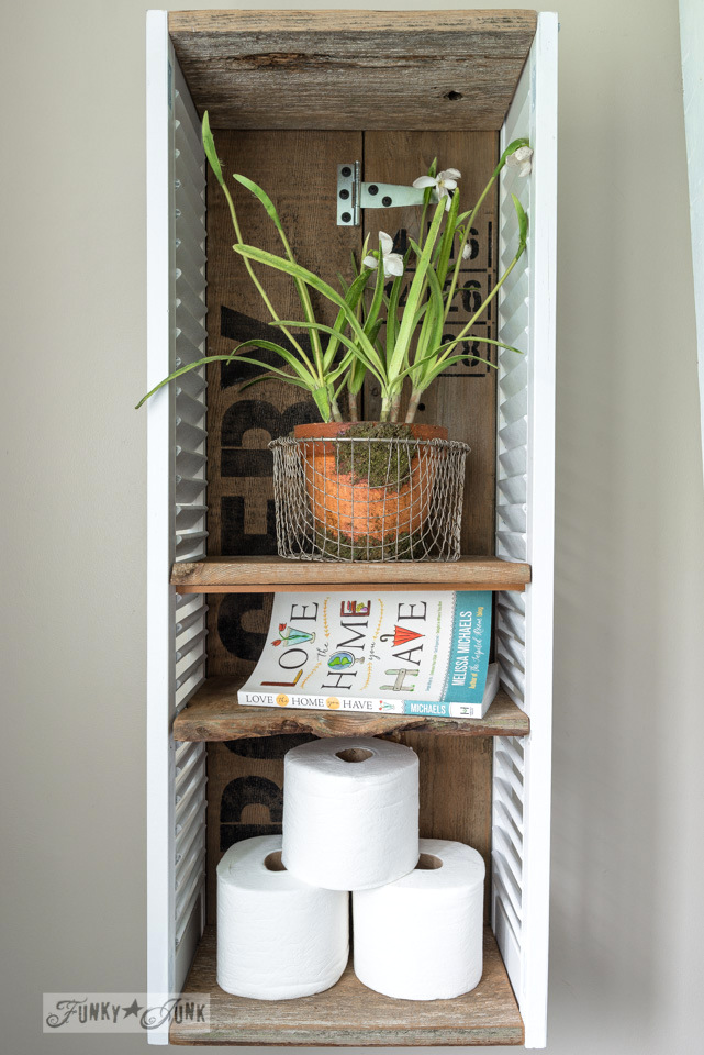 DIY reclaimed wood and shutter box cabinet (via www.funkyjunkinteriors.net)