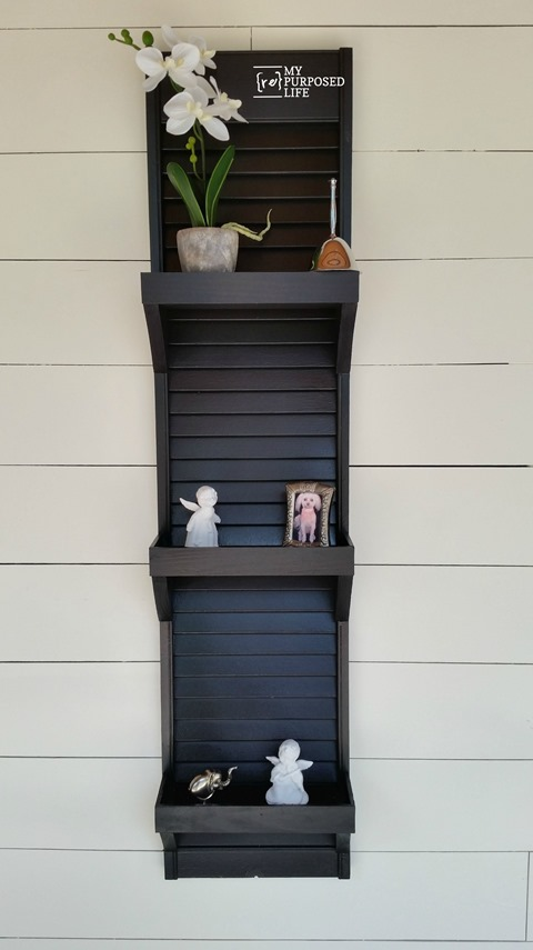 DIY dark painted shutter shelf