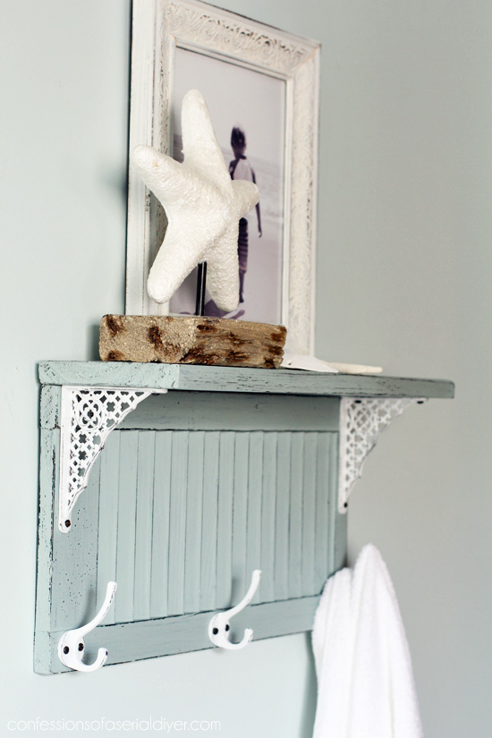 DIY vintage mint-colored shelf with forged details (via www.confessionsofaserialdiyer.com)