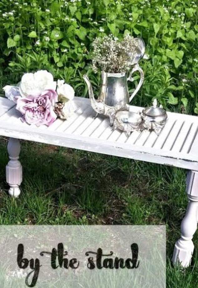DIY vintage shutter dining table