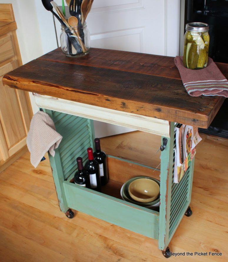 DIY mobile kitchen island of shutters (via www.beyondthepicket-fence.com)