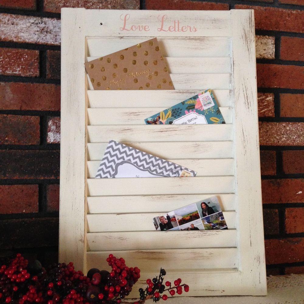 DIY window shutter mail organizer