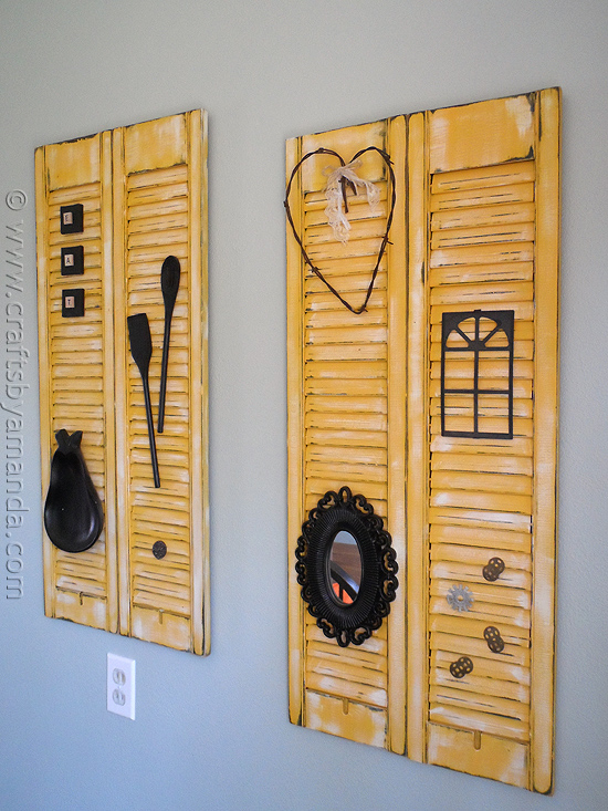 DIY distressed shutter wall decor (via craftsbyamanda.com)