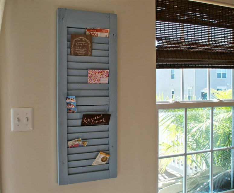 DIY shutter mail organizer (via hollybbaking.com)
