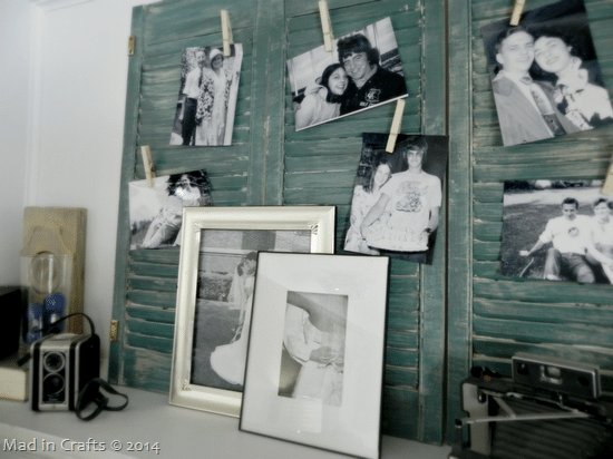 DIY vintage mantel photo display (via madincrafts.com)