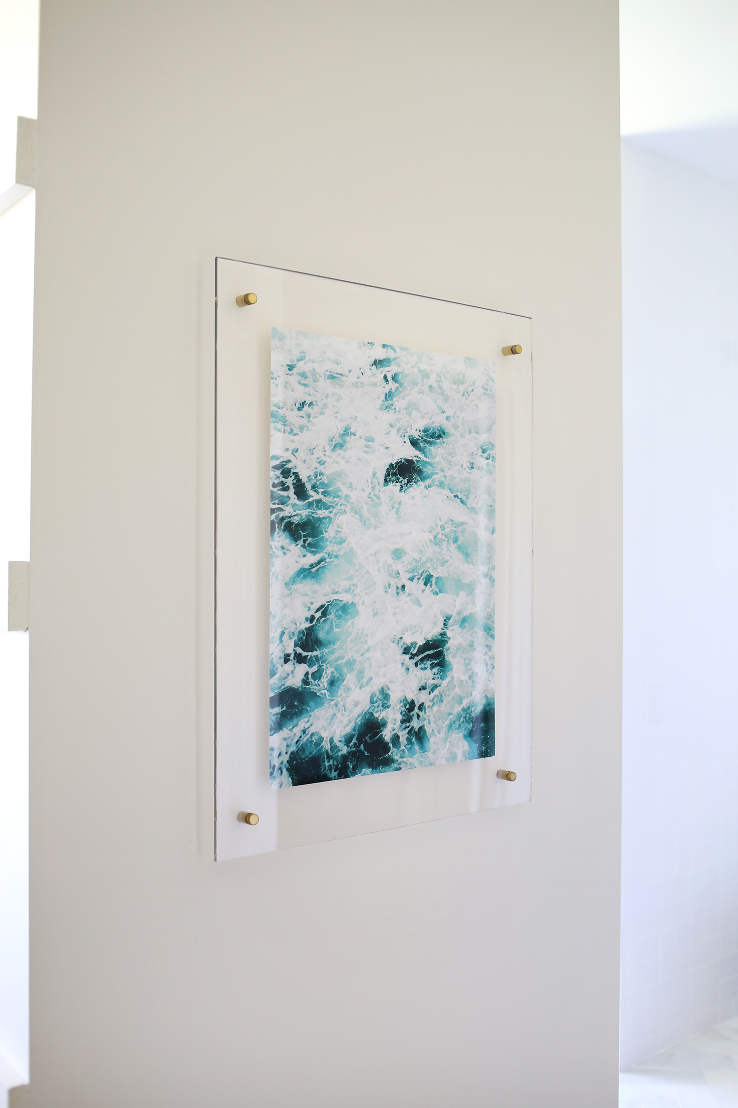 DIY floating acrylic frame with brass screws